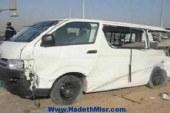 إصابة 13 شخص في حادث إنقلاب سيارة أجرة على طريق جهينة في سوهاج