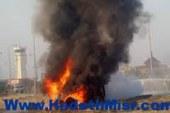 عاجل …للمرة الثانية مجهولون يضرمون النيران في سيارة شرطة بمدينة طما