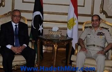 """بعد محاولة الانقلاب الفاشلة.. السيسي لـ""""زيدان"""": مصر لن تتساهل مع من يستهدف أمن ليبيا"""