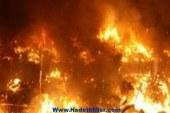 حريق مروع بمخزن أخشاب وورشتي نجارة وبلاط بالقوصية بأسيوط
