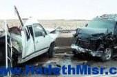 إصابة لواء شرطة ومجند في تصادم أتوبيس وسيارتين ملاكي