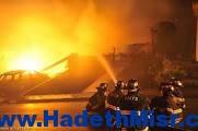 حريق هائل بمخزن أقمشة بالمحلة