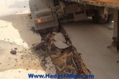 طريق سوهاج سفاجا غير أمن بسبب هبوط الارض