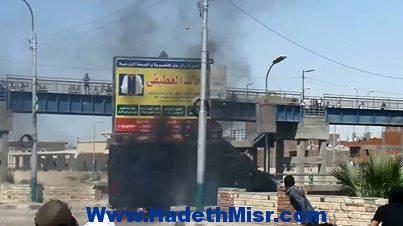 احراق مدرعة تابعة لقوات الامن بجامعة المنيا