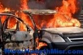 اشعال النار في سيارة ضابط شرطة بالمحلة