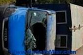 إصابة 6 مجندين فى انقلاب سيارة أمن مركزي بطريق السويس القاهرة