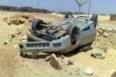 مصرع إسترالية و شاب مصرى إثر إنقلاب سيارة ملاكى طريق الغردقة غارب