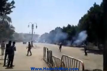 بالصور اشتباكات بين طلاب تنظيم الاخوان الارهابى مع قوات الأمن بأزهر اسيوط