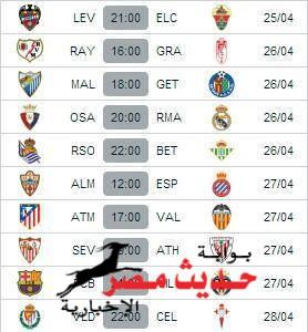 مباريات الجولة القادمة للدوري الاسباني