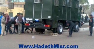 أصتدام سيارة أمن مركزى بسيارة نقل بطنطا وإصابة عدد من المجندين.
