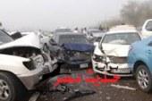 تصادم 3 سيارات بمحور صلاح سالم  أصيب 4 أشخاص