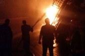 حريق جراج شركة «كير سيرفيس» للنظافة بالعريش