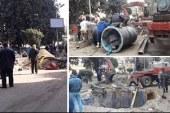 استمرار أعمال إصلاح خط مياه المهندسين بعد انقطاعها 48 ساعة