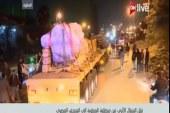 تمثال رمسيس يصل ميدان عبدالمنعم رياض.. وأبواب المتحف المصرى تستعد لاستقباله