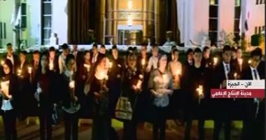 وقفة بالشموع أمام مدينة الإنتاج الإعلامى لتأبين ضحايا الكنيستين