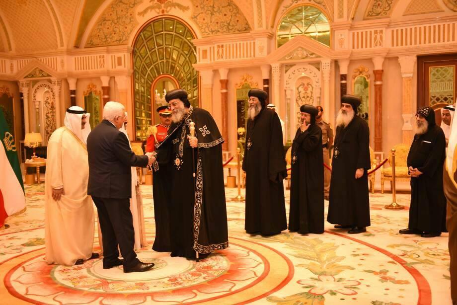 صفحة الكنيسة تنشر صور استقبال أمير الكويت والرئيس الفلسطينى للبابا تواضروس