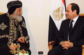 السيسي للبابا تواضروس: أجهزة الدولة ستبذل أقصى جهودها لملاحقة الإرهابيين