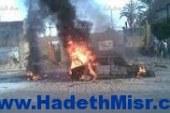 اشتعال النار بسيارتين وانفجار تنك وقود أمام مقر قيادة الجيش بالسويس