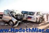 مصرع 3 اشخاص واصابة 8 اخرون بينهم 3 مجندين انقلاب سيارة بالمنيا