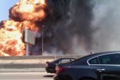 فريق من النيابة يعاين موقع انفجار خط الغاز بالقاهرة الجديدة