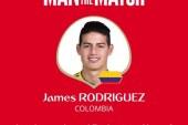 جيمس رودريجيز أفضل لاعب فى مباراة كولومبيا وبولندا
